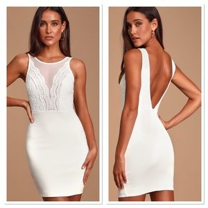 Lulus Coquina White Lace Bodycon Dress Small